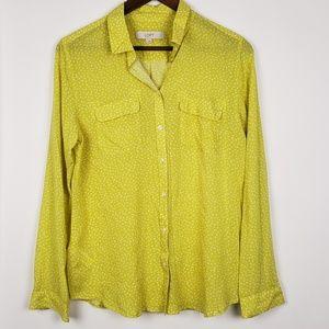 Loft Button Down Yellow Shirt Size Medium